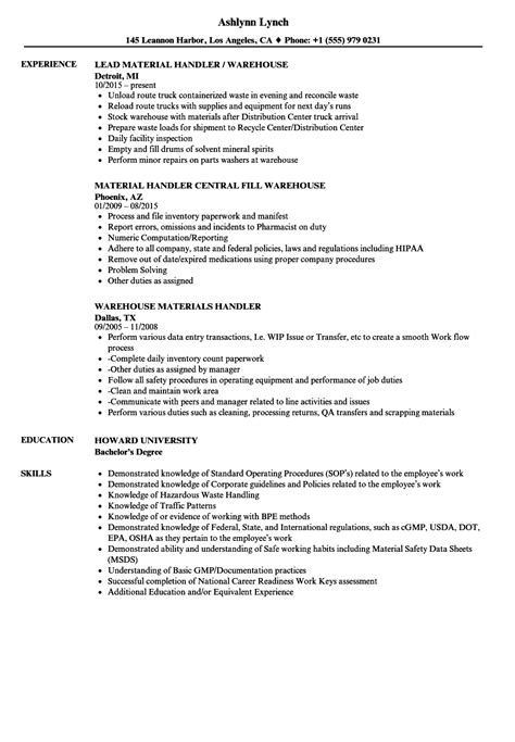 Resume Merchandise Handler Business Cover Letter Resumes Customer