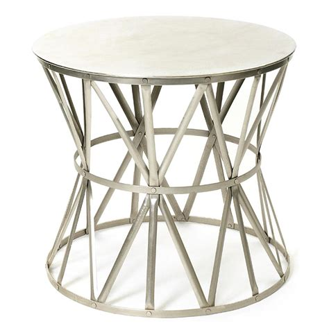 metal drum side table large steel top drum angle metal open accent side table
