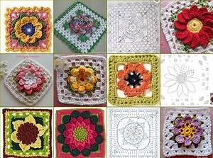 Quadrati all'uncinetto con fiori a rilievo per realizzare