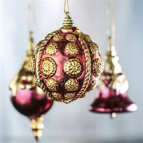 vintage inspired burgundy and gold christmas ornaments