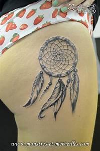 Tatouage Attrape Reve Signification : blanc noir attrape reve tatouage cuisse femme blanche tattoo ~ Melissatoandfro.com Idées de Décoration