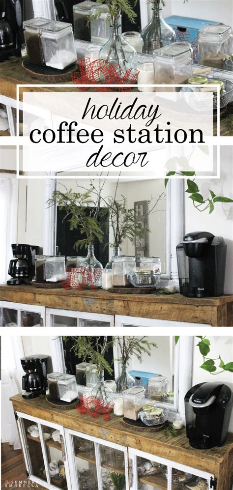 You'll feel like you're at a cafe after reading this blogger's tips and trick for a diy coffee bar. Holiday Coffee Station Decor   Home coffee stations, Coffee bars in kitchen, Decor