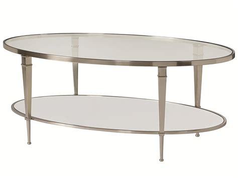 wolf table with glass table top oval satin nickel antique mirror finish cocktail table by