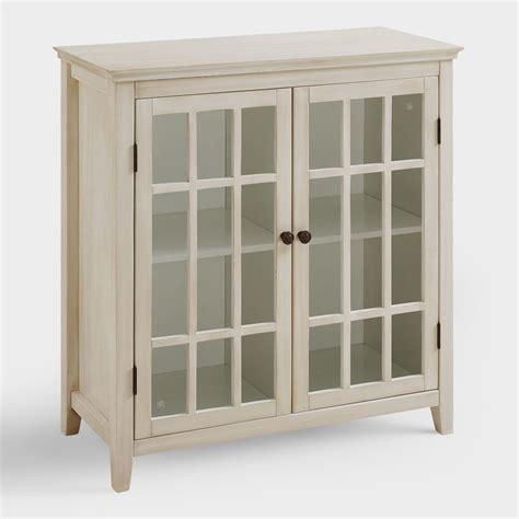 Antique White Double Door Storage Cabinet  World Market