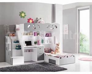 Lit Mezzanine Pour Enfant : lit enfant mezzanine avec bureau ~ Teatrodelosmanantiales.com Idées de Décoration
