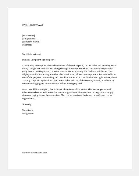 Complaint Letter against Peon SAMPLE LETTERS | Formal Word