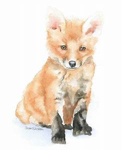 Baby Fox Watercolor Painting 8 x 10 Fine Art Giclee ...