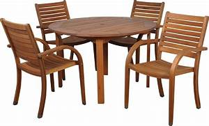Set Table Rond : amazonia arizona 5 piece wood outdoor dining set with 47 round table and 4 stackable chairs ~ Teatrodelosmanantiales.com Idées de Décoration
