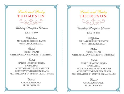 wedding menu template   printable menu cards
