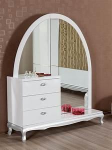 Miroir Pour Coiffeuse : coiffeuse avec miroir laque blanc ~ Teatrodelosmanantiales.com Idées de Décoration