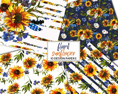 boho sunflower flax flowers bull scull feathers clipart