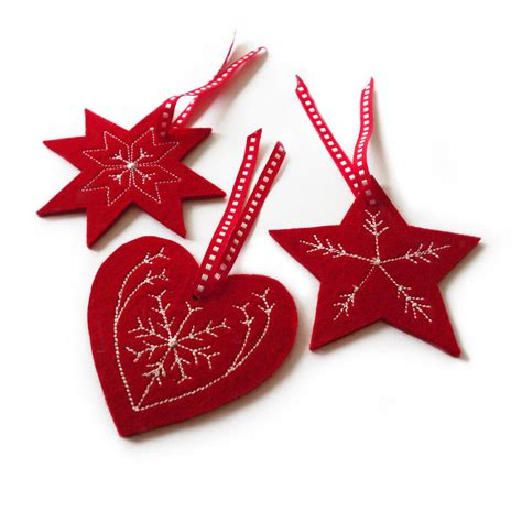 embroidered christmas tree decorations by goldborough