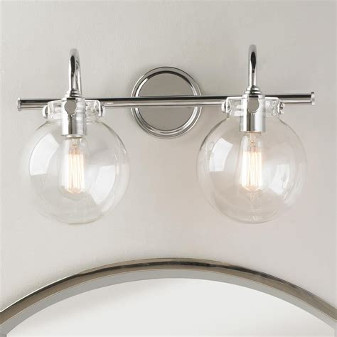 Chrome Bathroom Fixtures by Retro Glass Globe Bath Light 2 Light Bath Light Globe