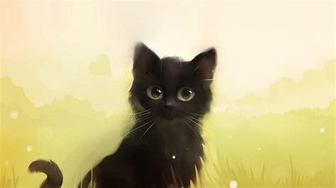 Curious Black Kitty Digital Kitten Art Cat Hd Wallpapers