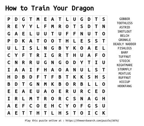 word search    train  dragon