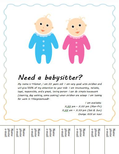 blank babysitting card template design images