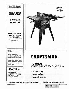 Craftsman 113241680 User Manual 10 Inch Flex Drive Table