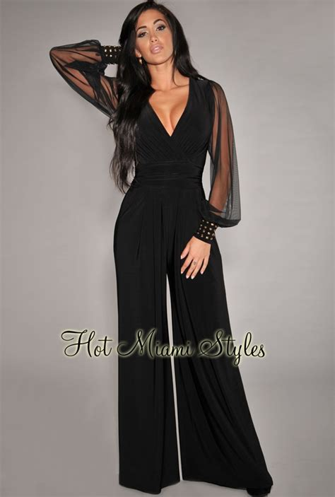 black jumpsuit with sleeves black embellished cuffs mesh sleeves jumpsuit
