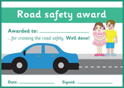 road safety certificate  early years primary