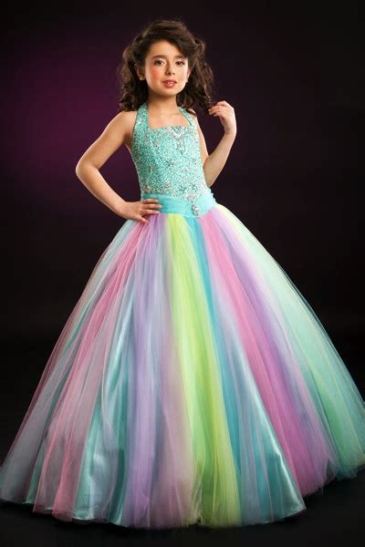 rainbow tulle perfect angels girls pageant dress