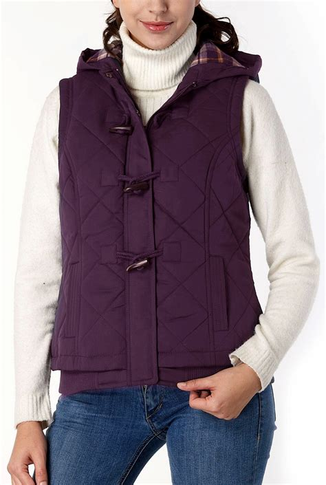 womens quilted vest bgsd s quilted hooded vest ebay