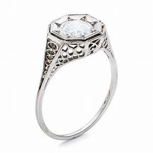 estate solitaire diamond art deco engagement ring 100900 With deco wedding ring