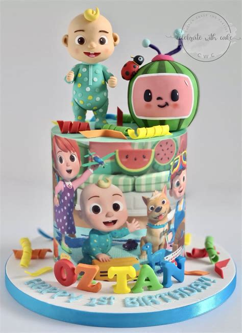 Birthday cakes need to look and taste good. Celebrate with Cake!: Cocomelon 1st birthday single tier Cake