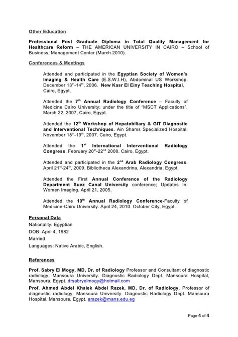 Diagnostic Radiography Resume by Radiologist Resume