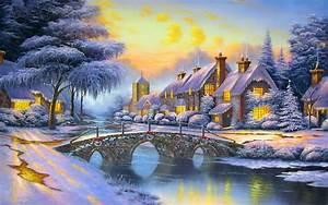 Winter, Landscape, Art, Houses, River, Bridge, Snow, Wallpapers13, Com
