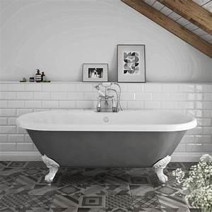 Duke Grey 1695 Double Ended Roll Top Bath W  Ball   Claw