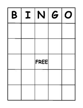 bingo board template    gibb teachers pay teachers