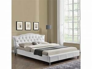 Lit Capitonné 160x200 : lit capitonn milano blanc tailles 160x200 vente de meubler design conforama ~ Teatrodelosmanantiales.com Idées de Décoration