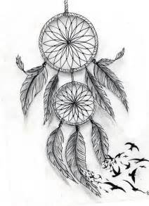 Dream Catchers with Birds Tattoo Drawings
