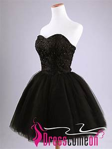 Black Short Prom Dress Simple Ball Gown Strapless Tulle ...