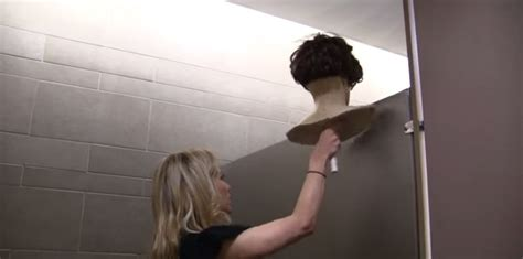 mannequin head peeking into bathroom stalls prank