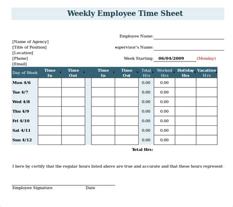 payroll timesheet templates samples