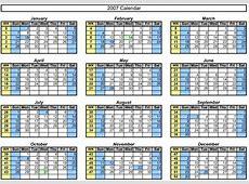 OfficeHelp Template 00046 Calendar Templates 2007