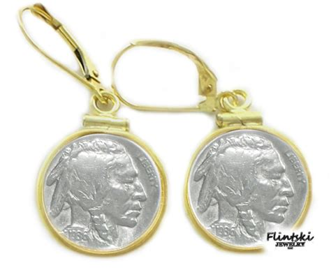 Us Nickel Coin Earrings 120th 14k Gold Filled