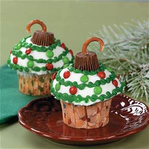 Ornament Cupcakes Free Christmas Recipes Coloring Pages