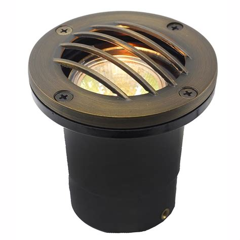 led in ground well light w curved brass grill ledgc3b cg