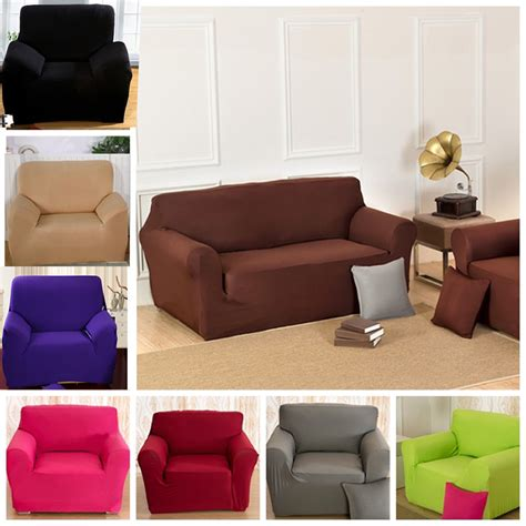 solid colour lounge stretch sofa cover 1 seater