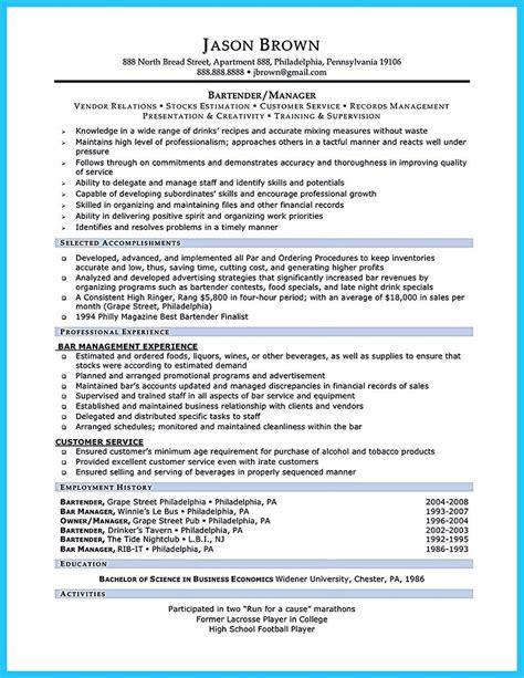 bartendending responsibilities resume sample