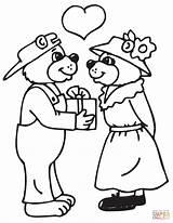 Coloring Pages Couple Printable Valentine Couples Bears Colourings Drawing sketch template