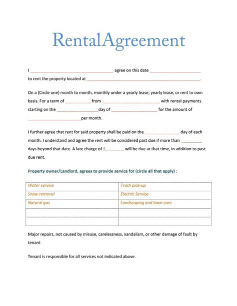 Rental Agreement Template Great Simple Room Rental Agreement Template Pictures
