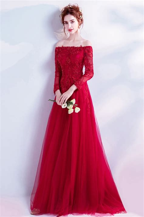 Elegant Long Red Lace Prom Dress With Off Shoulder Long ...