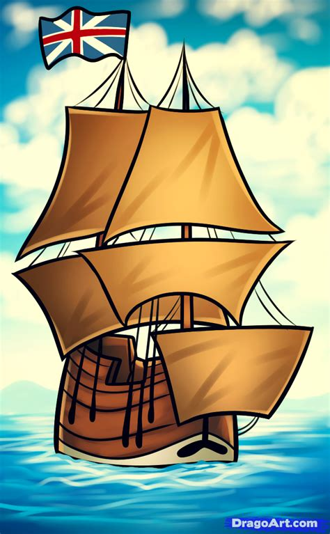 Cartoon Mayflower Boat by How To Draw The Mayflower Mayflower Step By Step Boats