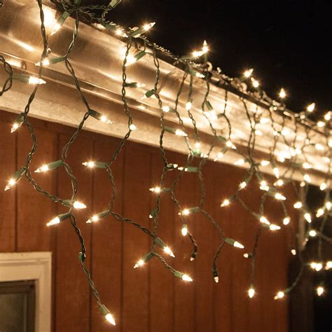 christmas icicle light  clear icicle lights green wire