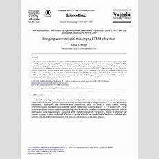 (pdf) Bringing Computational Thinking To Stem Education