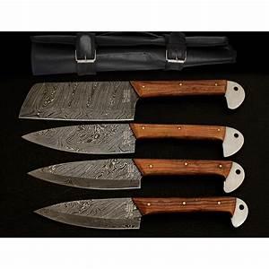 Damascus, Kitchen, Cutlery, Set, Set, Of, 4, -, Black, Forge, Knives