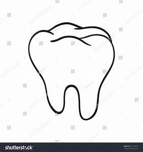 Handdrawn Black Lines Sketch Molar Tooth Stock Vector ...